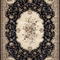 Manor House / Elite Traditional Royalty Area Rug Black Savonnerie