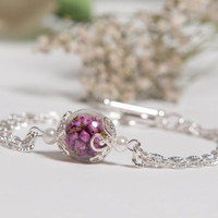 Best Friends Forever, Real Pink Heather Flowers and Hand Blown Glass Bracelet, Eco Chic BFF Jewelry, Friendship Gift