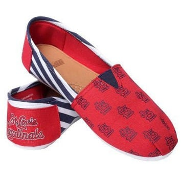 St. Louis Cardinals Forever Collectibles Women's Canvas Slip On Shoes Sizes S-XL w/ Priority Shipping