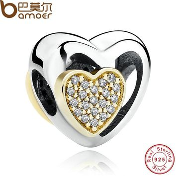 Romantic 925 Sterling Silver Heart Joined Together, Clear CZ Charms Fit Bracelet Necklace Jewelry PAS265