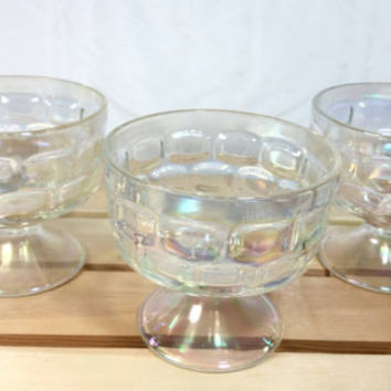 Vintage Iridescent Federal Glass Clear Sherbet Bowls, Footed Colonial Pattern Bowls, Yorktown Thumbprint Clear Glass Dessert Bowl