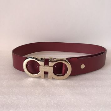 Authentic Salvatore Ferragamo Calfskin Red Belt Size 38