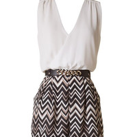 Chevron Sleeveless Romper - Black