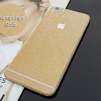 3D Striped Texture Glitter Crystal Diamond Sticker - Toeoe Full Body Wrap Decal Vinyl Skin for iPhone 6 /6S 4.7 Inch (Champange Gold)