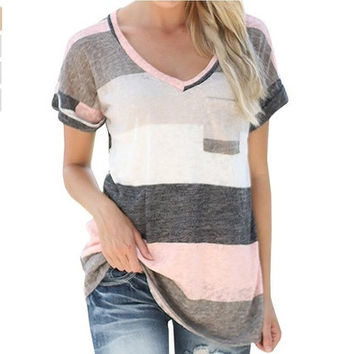 Cotton Shirt Women's Summer Fashion Short Sleeve Top Tee Blouse