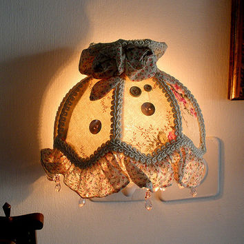 lamp shade Vintage  half round wall LampShade by Mintook on Etsy