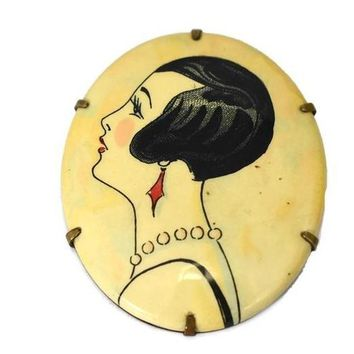 1920s Art Deco Flapper Brooch Celluloid and Brass