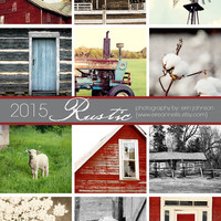 2015 desk calendar - 2015 rustic art calendar 5x7 fine art photography planner - country, farm, barns, rural, rustic decor calendar