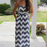 Chevron Maxi Dress - Grey - Hazel & Olive