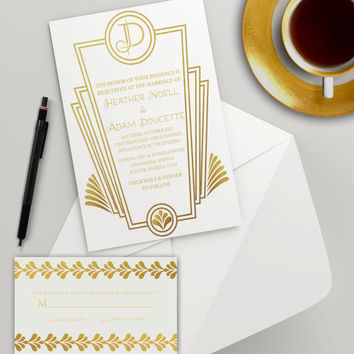 Instant Download - Gold White Art Deco Wedding Bridal Shower Golden Birthday Vintage Roaring Twenties Party Invitation RSVP Template