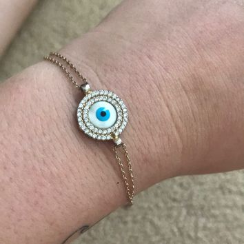 Evil Eye Yellow Gold Plated Bracelet