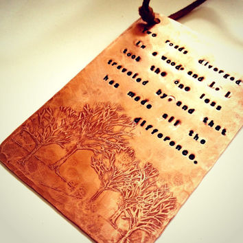 COPPER WALL PLAQUE - Hand Stamped and Filed with Etched Tree Design, Robert Frost Poem, The Road Not Taken, Can Be Customized