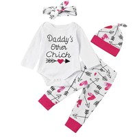 2017 kids Clothes autumn style infant clothes baby clothing sets girls Cotton romper+pants+hat +headband 4pc suit baby clothes