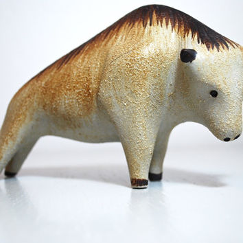 Scarce Mid Century Handmade Ceramic Bull by Peter Müller for Sgrafo