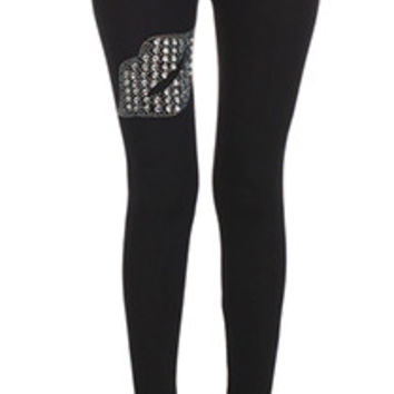 Cotton Blend Black Leggings w/ Rhinestone Lips