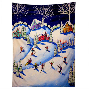 Renie Britenbucher Winter Skiing Fun Tapestry
