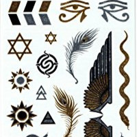 "Metallic Gold and Silver Temporary Tattoos, Jewelry,Beautiful Bling (2 sheets, each 4"" x 8""), Egyptian type, Eye of Ra (Horus), necklaces, bracelets, feathers, snakes, and more"