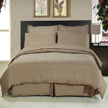 Solid Taupe 8-Piece Bedding Set Super Soft Microfiber Sheets+Duvet+Alternative