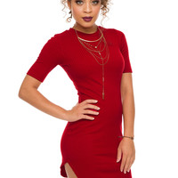 Ada Ribbed Dress - Red