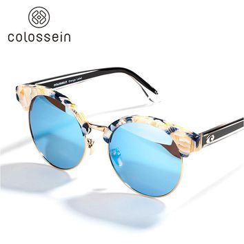 COLOSSEIN 2017 Fashion Sunglasses Women Cat Eye Summer Polarized Round Lens Glasses Beach Style Eyewear with Tortoise Frame