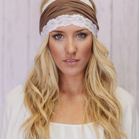Lacy Jersey Headband Wide Hair Covering in Mocha Brown Stretchy Hair Band (JLCafe)