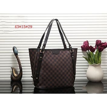 LV Tide brand classic retro old flower female shopping bag handbag Coffee check