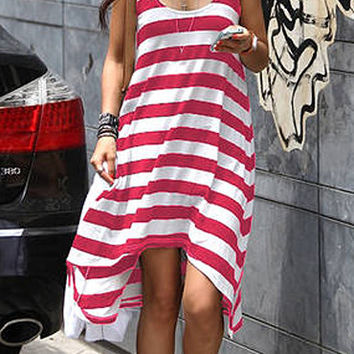 Pink and White Stripe Cover Up Dress