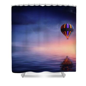 Hot Air Balloon Sunset - Shower Curtain