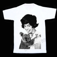 HARRY STYLE With Koala TShirt One Direction T Shirt 1D TShirt Women Vest Sleeveless Singlet Unisex Shirt Women Shirts White Shirt Size S,M,L