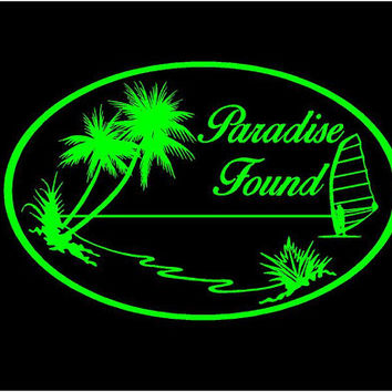 Paradise Found Vinyl Decal car truck auto vehicle window custom sticker tropical decal