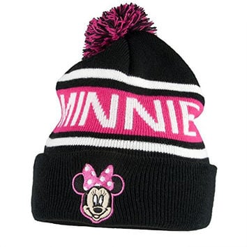 Black and Pink Mickey Mouse Adult Size Pom Beanie