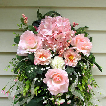 pink wreath, Spring summer wreath, flower swag, wedding wreath, summer door wreaths, french country, victorian wreath, cottage chic decor