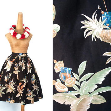 Hawaiian Tiki Lobster Print // Pinup Novelty Skirt // Fully Lined Midi Skirt with Pockets // Custom Size & Length