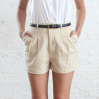 khaki high waist shorts (s)