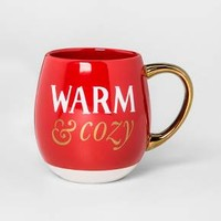 Stoneware Warm and Cozy Mug 17.5oz Red/White/Gold - Threshold™