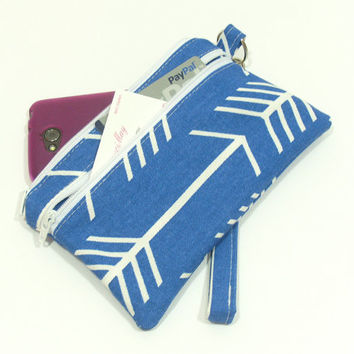 Cell Phone Wristlet, Blue Arrow Wristlet, Phone Wallet, Wallet Wristlet, Blue Clutch, Phone Clutch Bag, Zipper Wristlet, iPhone Wristlet