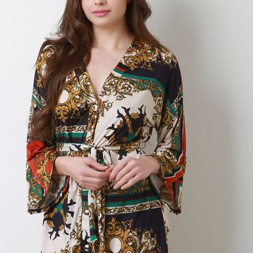 Filigree Printed Waist Sash Kimono Sleeve Mini Dress