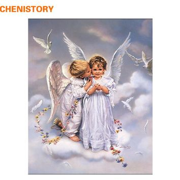 CHENISTORY Angel Figure Painting Picture Wall Art DIY Painting By Numbers Drawing Paint On Canvas For Home Decor Wall Artwork
