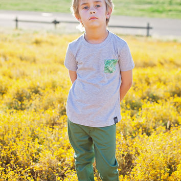 Kid's Grey Pocket T-Shirt - Palm Party Print