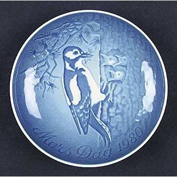 1980 Bing & Grondahl Mother's Day Plate - Woodpecker & Young