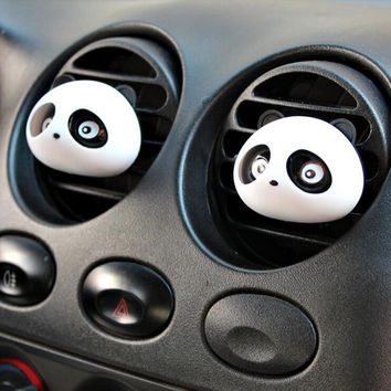 2PCS Cute Car Auto Dashboard Air Freshener blinking Panda Perfume Diffuser for Car