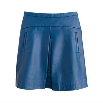J.Crew Womens Collection Box-Pleat Leather Skirt