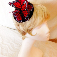 Red and black Feather Monarch butterfly fascinator derby hat