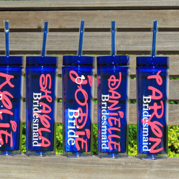 bridesmaid tumler, personalized tumbler, acrylic cup, skinny tumbler, 16 oz cup, blue tumbler, bridal party favor, bachelorette party cup