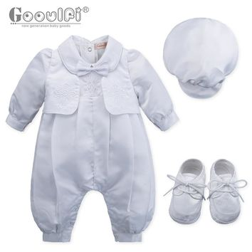 Gooulfi Baby Rompers Christening Baptism New Born Baby Clothes Set Baptism White Newborn Baby Clothes Gentleman Baby Boy Romper