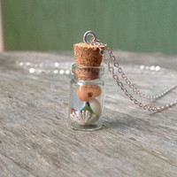 Silver Shell Jar Necklace,Beach Glass Cork Jar,Sea Glass Pendant Necklace,Hawaii Seashell Jar Necklace,Sterling Silver Chain,Conch Cone Puka