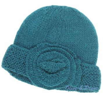 Flapper style Knit Teal Hat