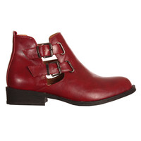 Ark for Women Ark Burgundy Flat Cut Out Boots