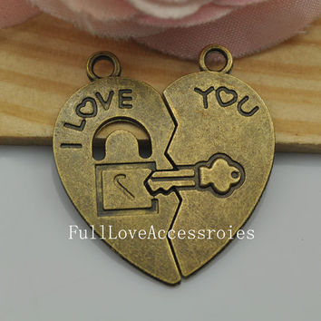 10sets 27x30mm Antique Brass I Love You Heart-shaped Key and Lock Charms Pendant