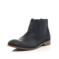 River Island MensBlack worn suede Chelsea boots